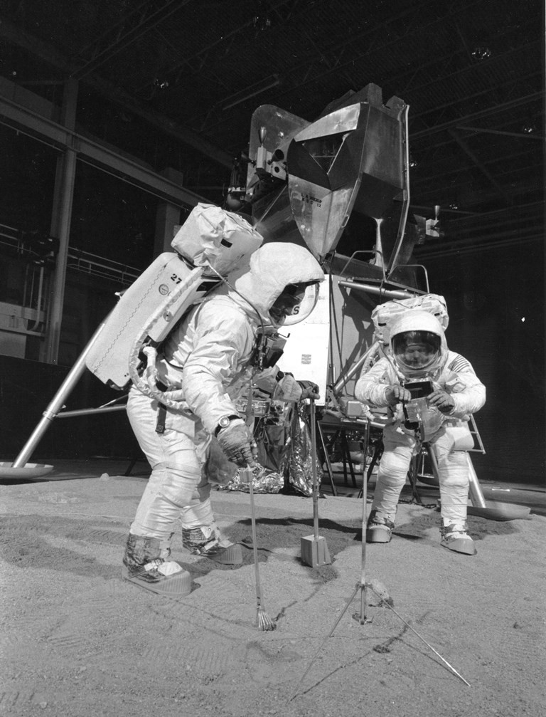 Actors on the Set of the Fake Moon Landing (Credit: OZY)