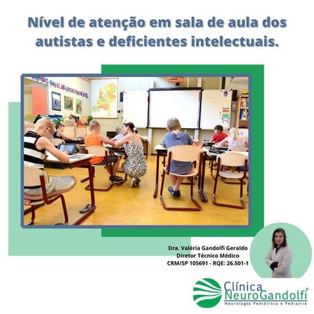 Nível de atenção em sala de aula dos autistas e deficientes intelectuais.