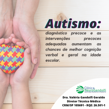 Autismo: diagnóstico e estímulo precoce melhora cognição verbal e geral.