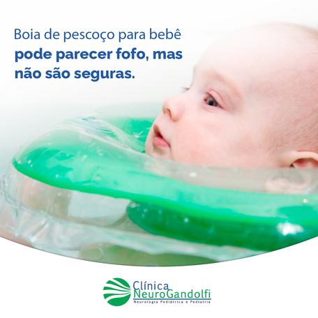 Boia de pescoço para bebê pode parecer fofo, mas não são seguras.