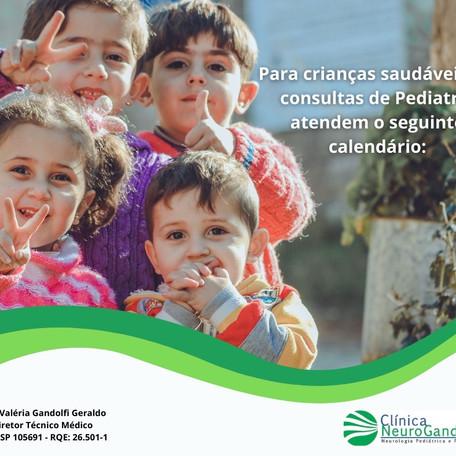 Para crianças saudáveis, as consultas de Pediatria atendem qual calendário?