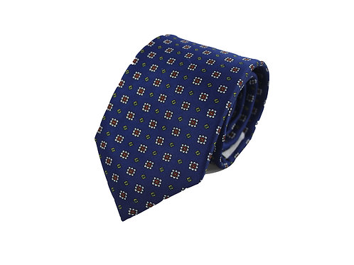 Royal flowers with squares 100% silk tie