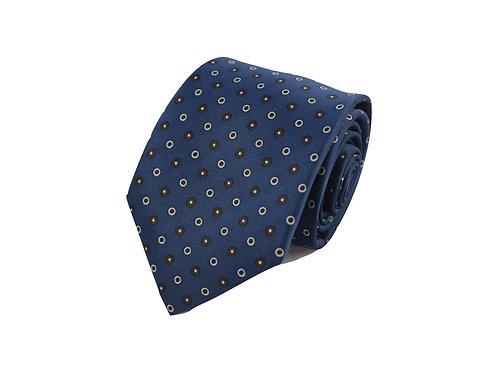Blue polka dots 100% silk tie