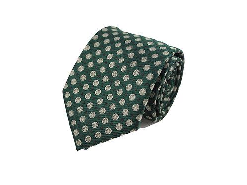Green dandelion 100% silk tie