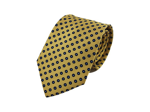 Yellow polka dots 100% silk tie