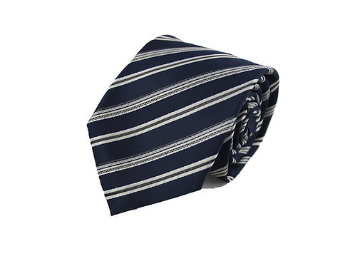 Blue and gray stripes 100% Polyester tie