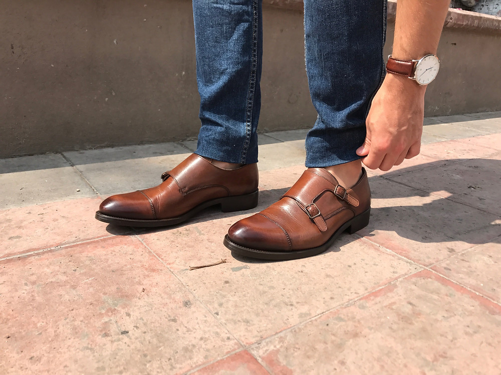 no-show socks, monk straps, casual outfit