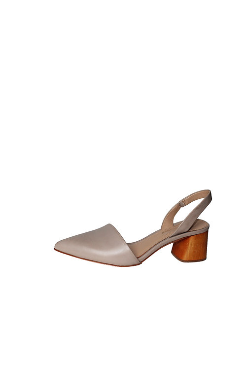 KLAUDI LEATHER BLOCK HEEL SLINGBACK SHOES