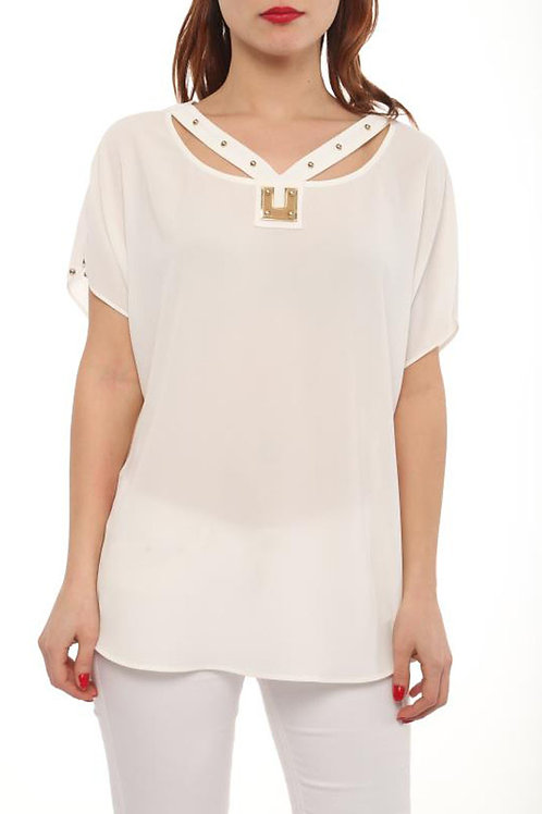 STUDDED NECKLINE TOP