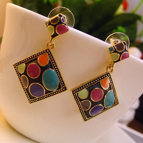 Multi Color Geo Earrings