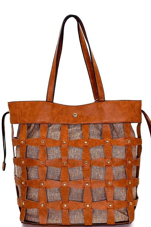 Woven Bucket Tote Bag