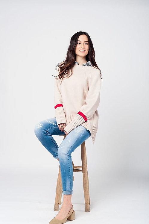 Beige Rib-knit sweater