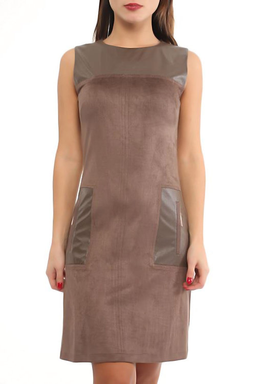 Faux-Suede Fitted Dress