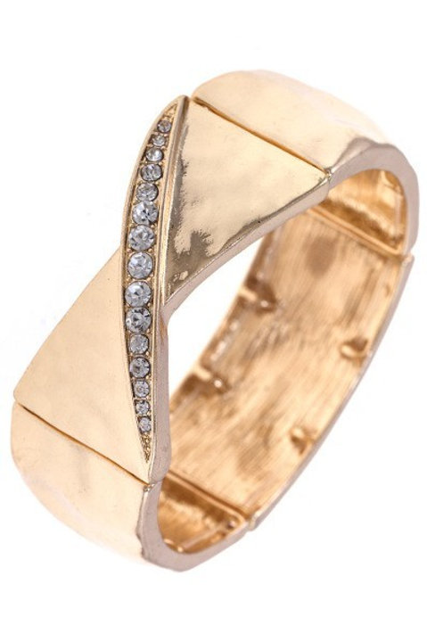 HAMMERED TEXTURE CRYSTAL ACCENT STRETCH BRACELET