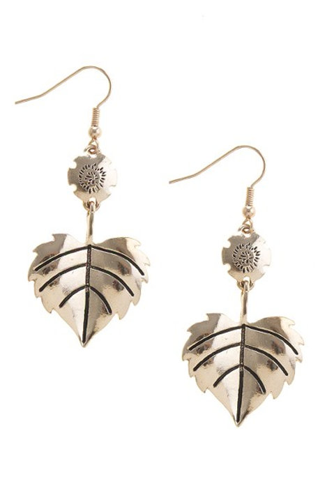 Etched leaf drop earrings