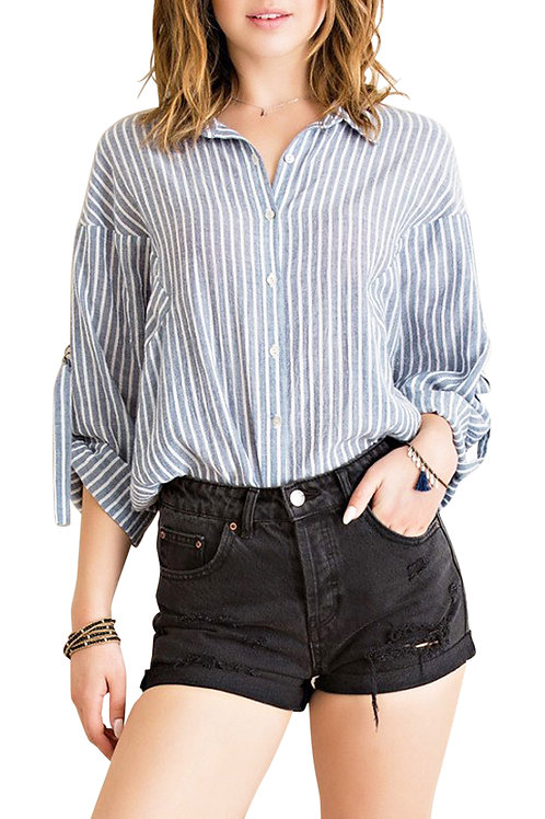 Button-up Striped Blouse