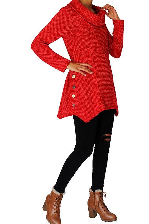 Cowl Neck Cotton Blend Tunic Sweater