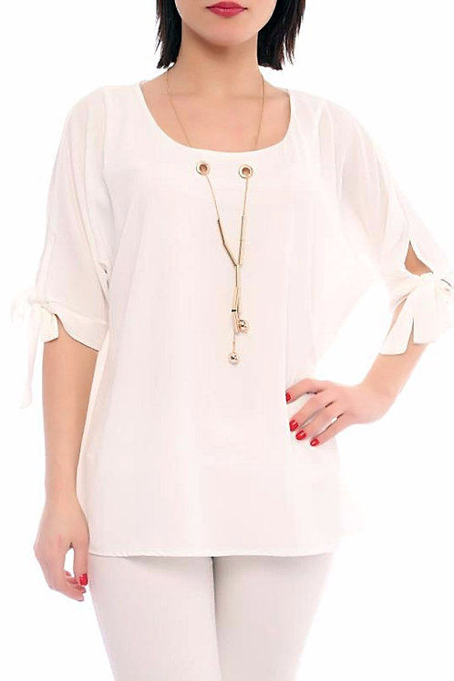 White Blouse with Necklace