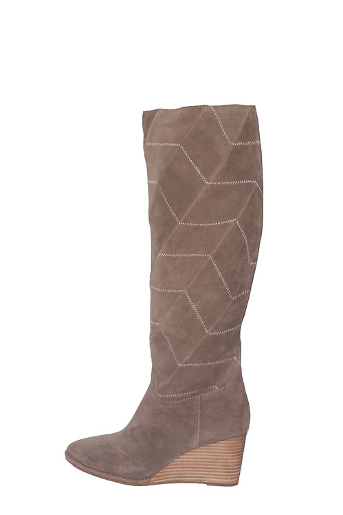 LUCKY PREEKA TALL WATER PROOF SUEDE CHEVRON STITCH BOOTS