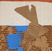 """CORRUGATED WITH RED-GOLD PAPER, 2015, PAPER AND CORRUGATED CARDBOARD, 9"""" x 9"""", 22.8 x 22.8 cm"""