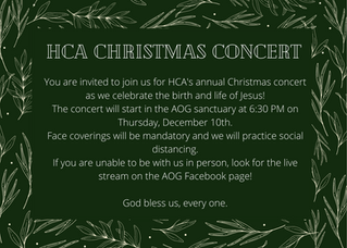 HCA Christmas Concert is Happening Soon!