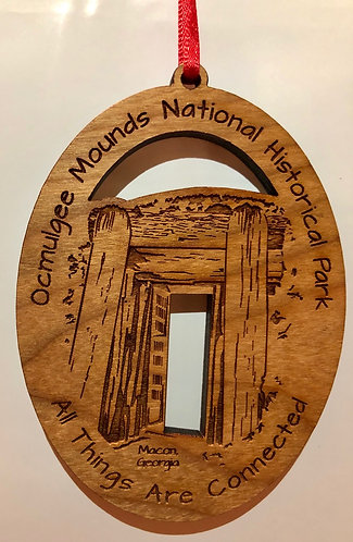 Ocmulgee Mounds NHP Wooden Holiday Ornament