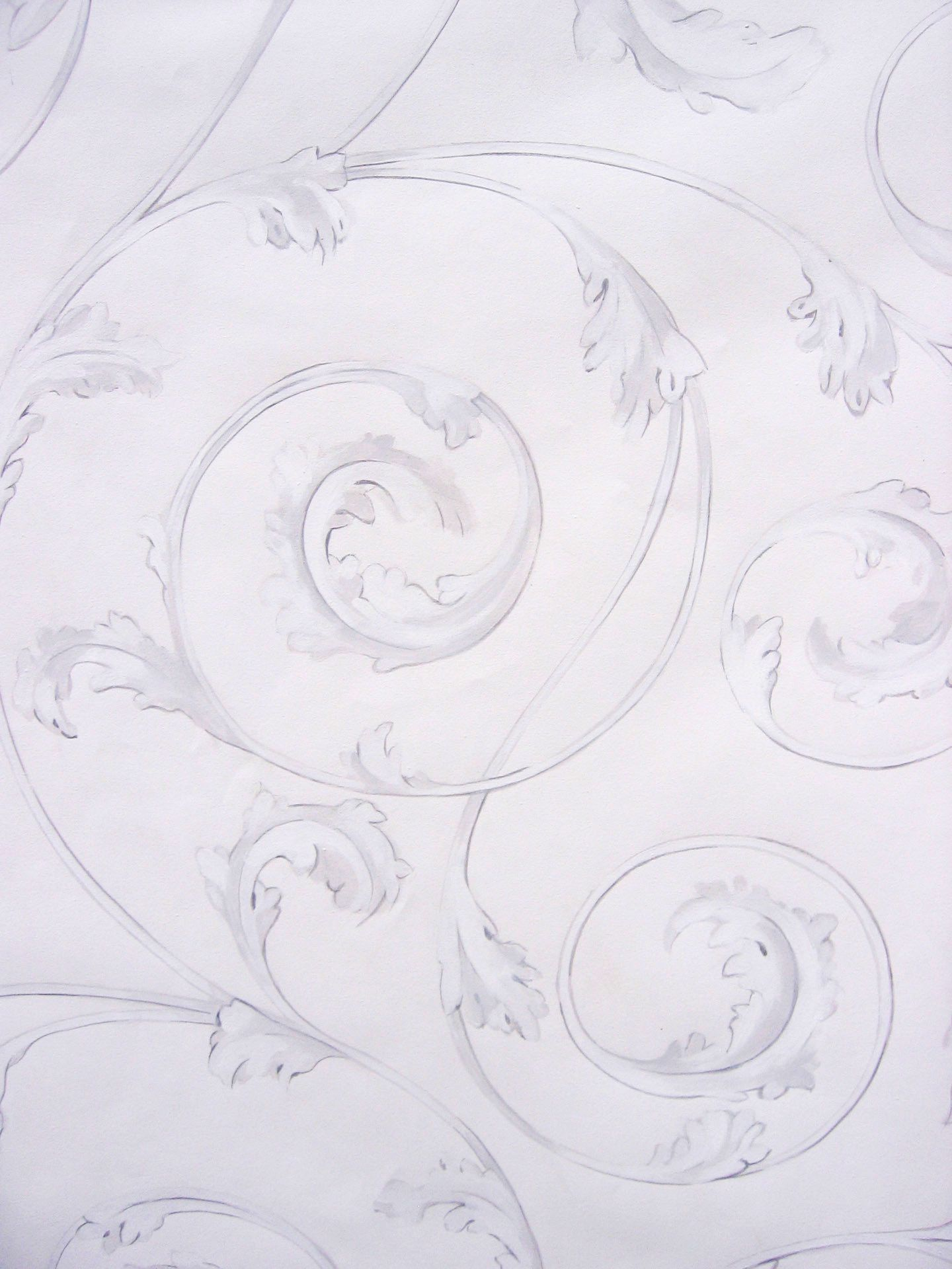 White Trompe L'oiel Plaster Scroll