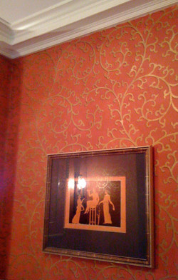 Red and Gold Stencil Scroll
