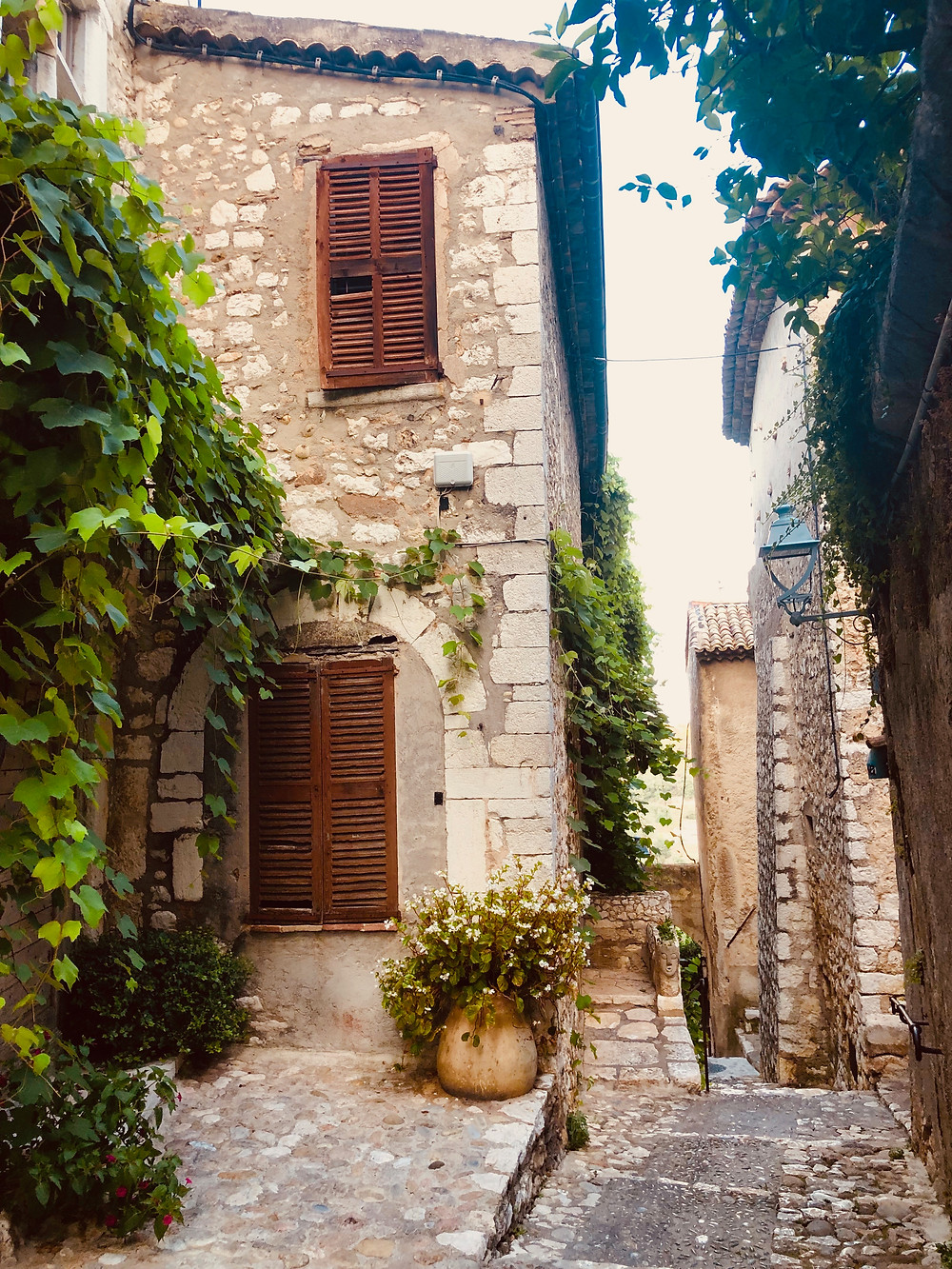 The cobblestone streets of the most beautiful hilltop town in the French Riviera, St. Paul de Vence.