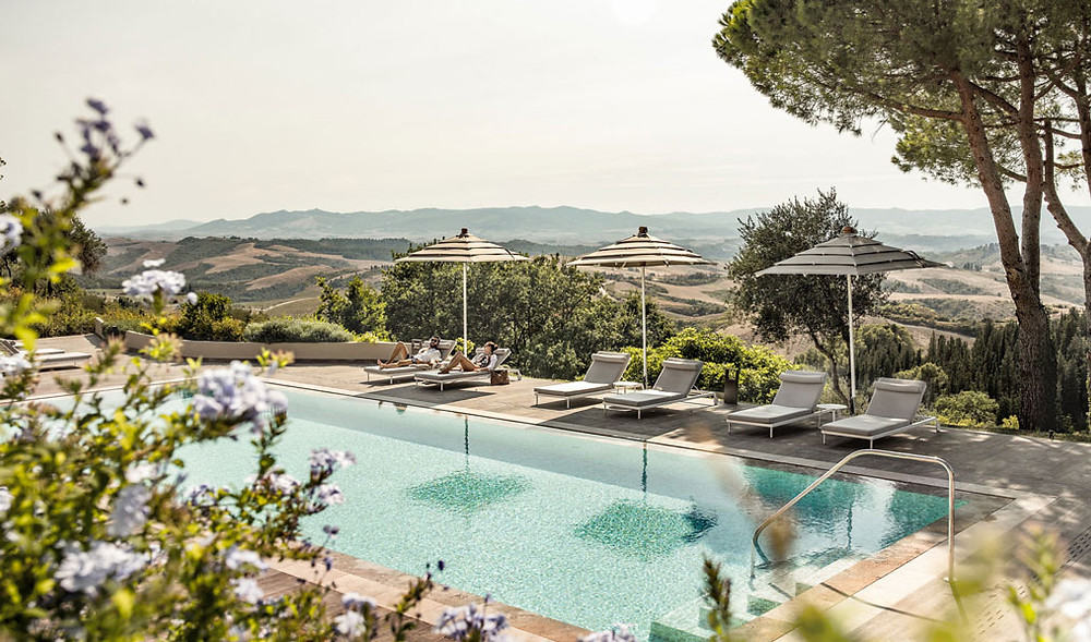 Magnificent pool views at Toscana Resort Castelfalfi, Tuscany