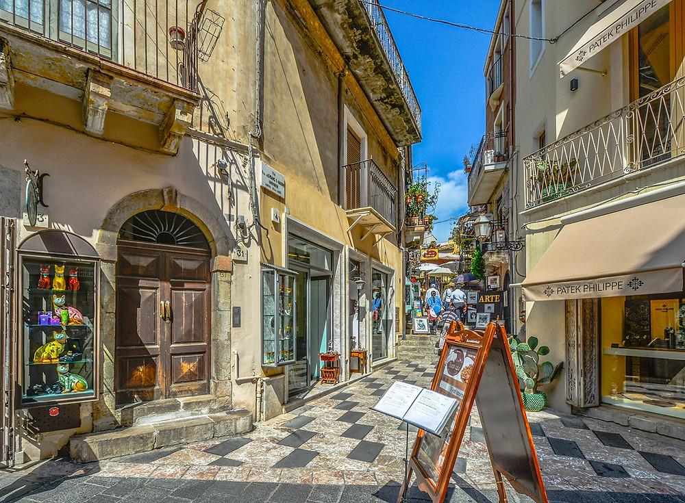 Beautiful street in Taormina, Sicily