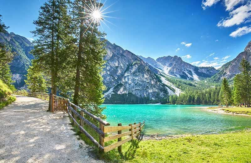 Breathtaking scenery of mountains and lake in the Dolomites, Italy