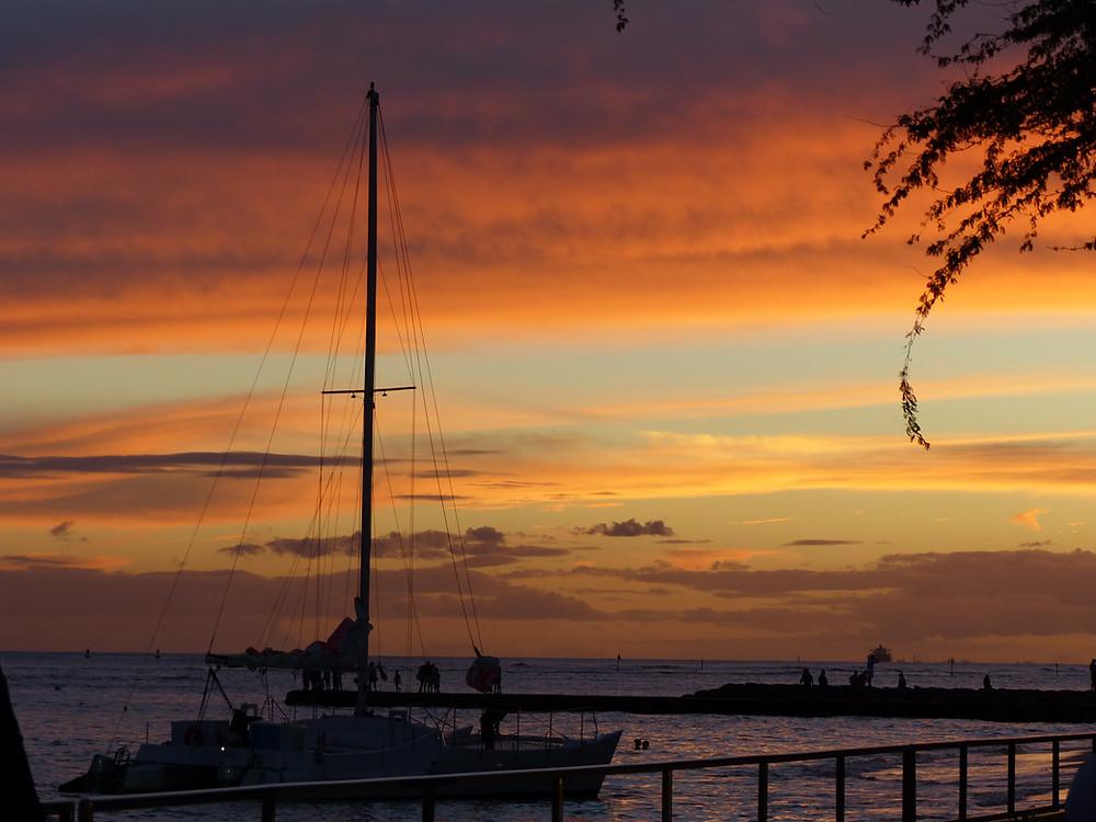 Magical sunset on Waikiki Beach, Hawaii