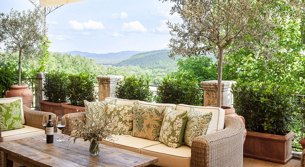 Outdoor space of a romantic suite in Borgo Santo Pietro, Tuscany