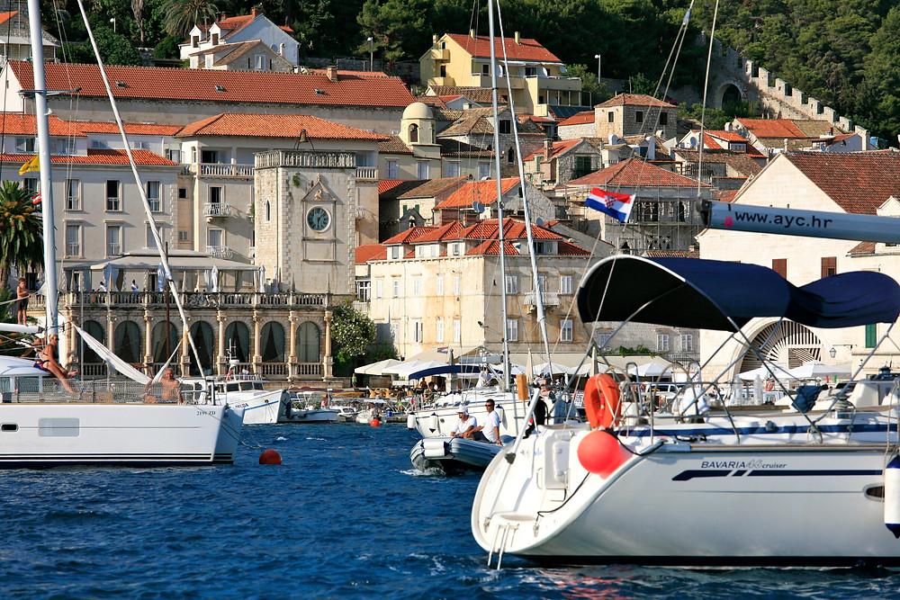 Beautiful port in Hvar, Croatia