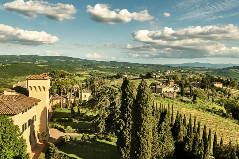 Spectacular grounds of Castello del Nero, Tuscany