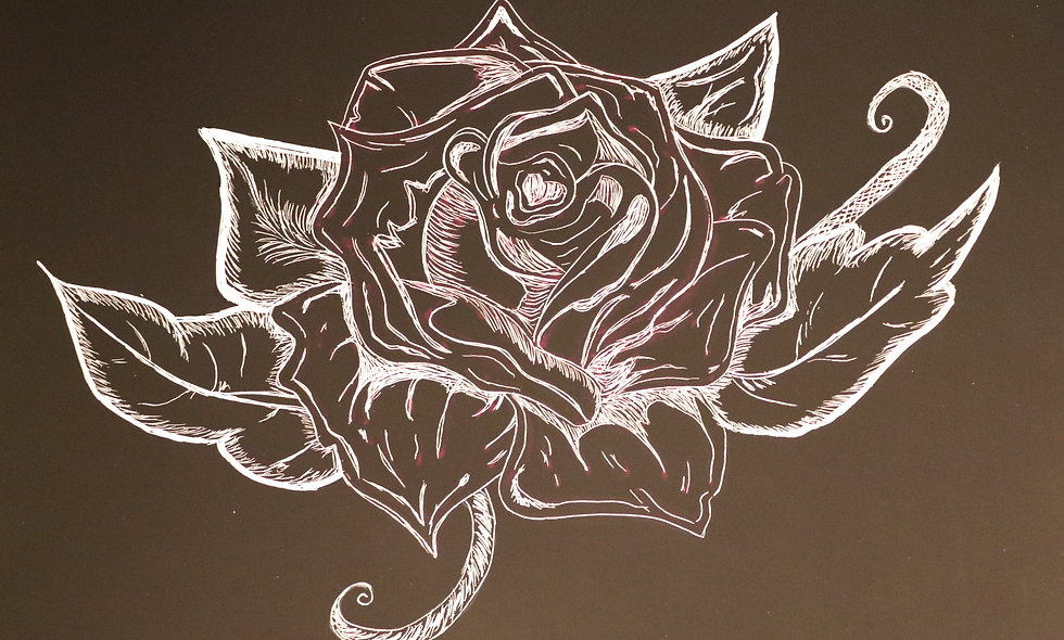 Rose Scratchboard Art