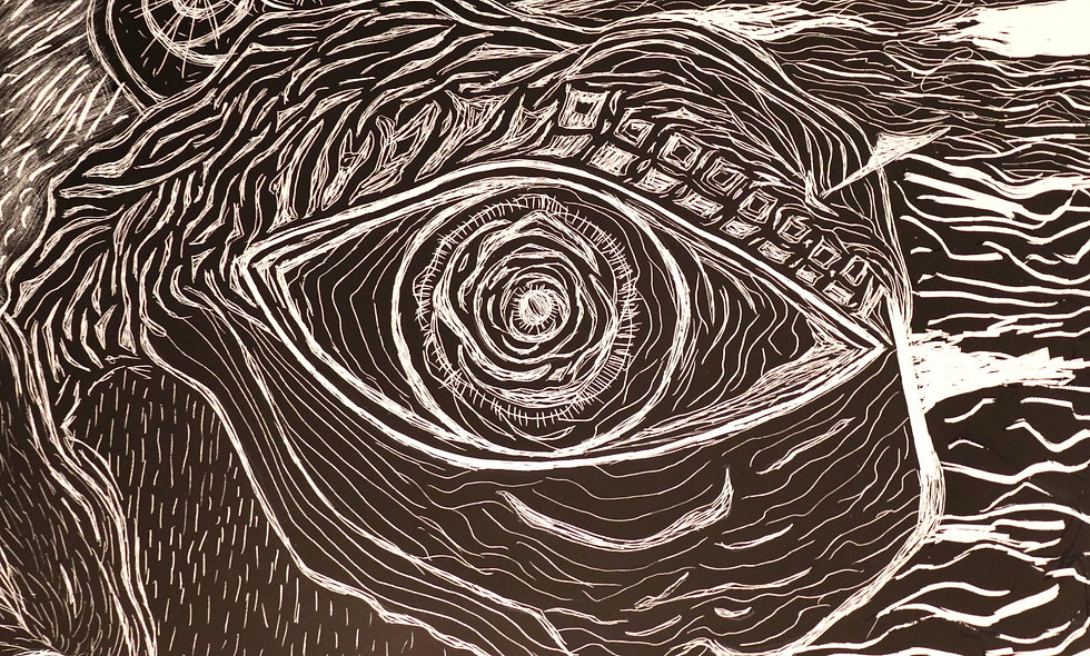 Eye Scratchboard Art