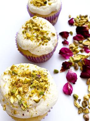 Pistachio Rose Cupcakes