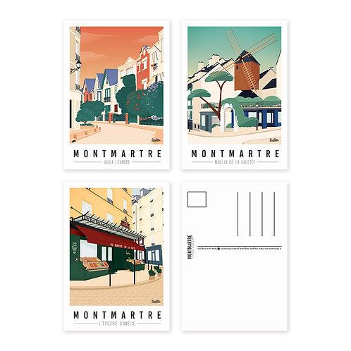 Montmartre mon coeur Lot de 3 Cartes postales [#2]