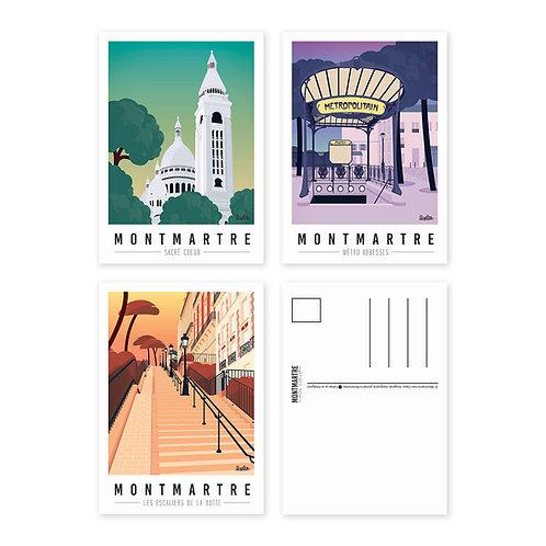 Montmartre mon coeur Lot de 3 Cartes postales [#1]