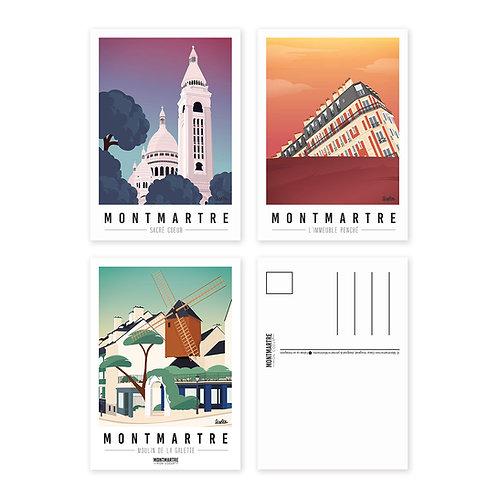 Montmartre mon coeur Lot de 3 Cartes postales [#3]