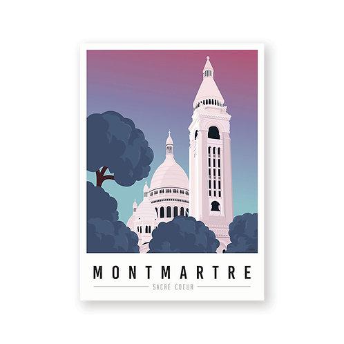 Affiche Montmartre mon coeur Sacré Coeur aurore