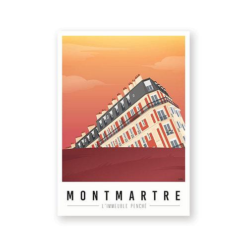 Affiche Montmartre mon coeur Immeuble penche