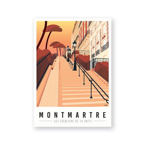 Affiche Montmartre mon coeur Escaliers de la butte