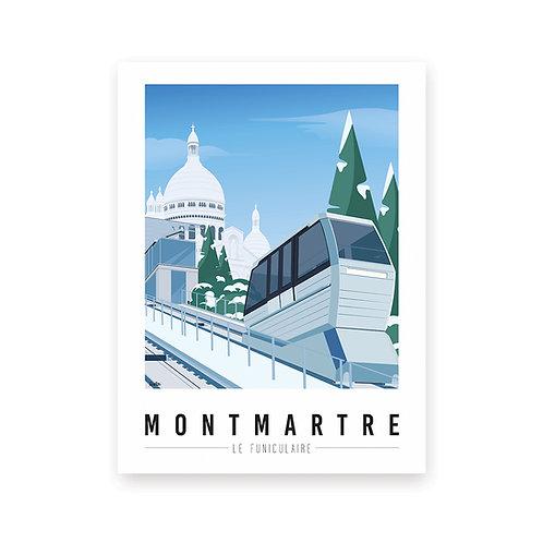 Affiche Montmartre mon coeur Le Funiculaire