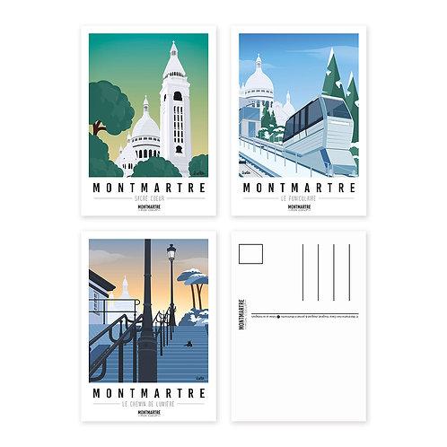 Montmartre mon coeur Lot de 3 Cartes postales [#4]