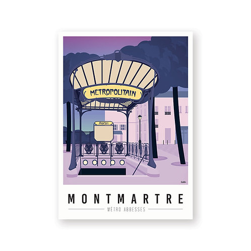 Affiche Montmartre mon coeur Metro Abbesses