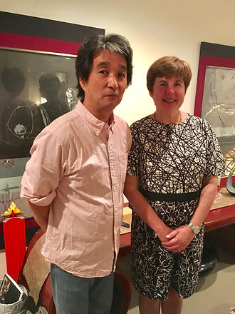 photograph of contemporary Japanese print dealer Allison Tolman of The Tolman Collection of New York with artist KINOSHITA Taika