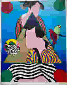 Silkscreen by Yayanagi for the Tolman Collection, images of kabuki figures in colorful pop art style